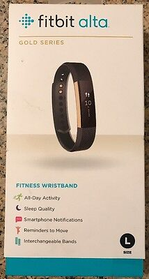 NEW Fitbit - Alta Gold Series Activity Tracker (Large) - Black/Gold