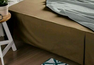 King Size Bed VALANCE skirt chocolate brown Pleated Linen House Cotton 300tc sat