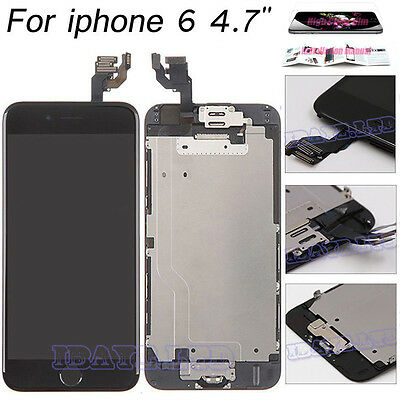 """For iPhone 6 4.7"""" Black LCD Display Touch Screen Digitizer Home Button+Camera UK"""