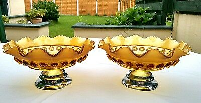 Rare 1940's Pair of Davidson Amber Pressed Glass Fluted Bowls on Pedestals