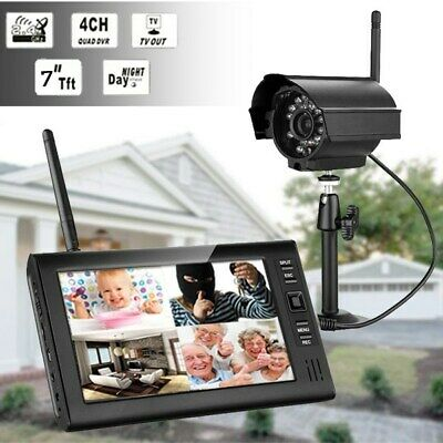 7 inch LCD Monitor+4CH Wireless Outdoor Digital Wireless CCTV Camera Security