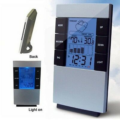 Home Humidity Thermometer LCD Digital Hygrometer Temperature Meter Clock New