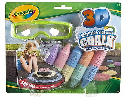 Crayola 3D Washable Outdoor Pavement Chalk Pens Art Coloured Floor Games Craft