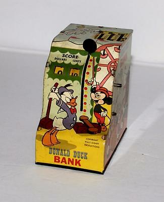 EX!DISNEY 1950's DONALD DUCK TIN LITHOGRAPHED REGISTER BANK-WORKS GREAT!!
