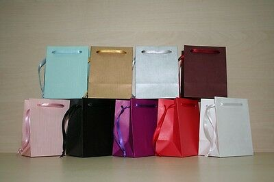 EXTRA SMALL  PAPER GIFT BAGS 9 plain colours + natural brown PK OF 10 HANDMADE