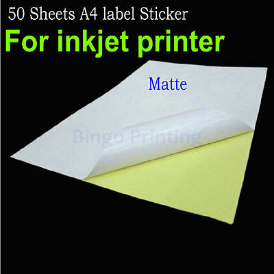 50 Sheets A4 Self-adhesive Label Sticker Matte Surface paper For Inkjet Printer