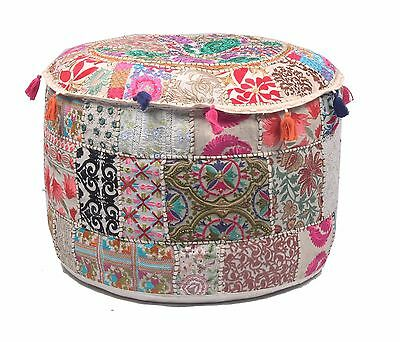 """Handmade Home Decorative 22"""" Round Ottoman Pouf Stool Chair Patchwork Pouf Cover"""