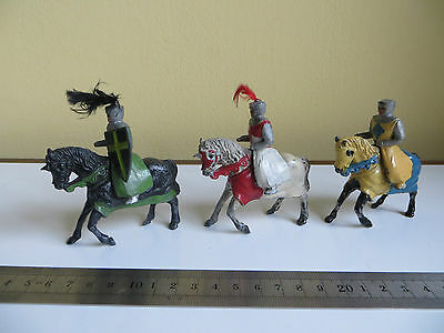 Vintage Lead Timpo? Toy Soldiers Mounted Crusaders Ivanhoe Series Armour Horses