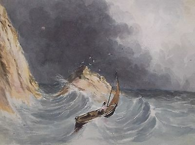 Antique Early 19Th Century Watercolour Painting 1844 A Boat In Heavy Seas