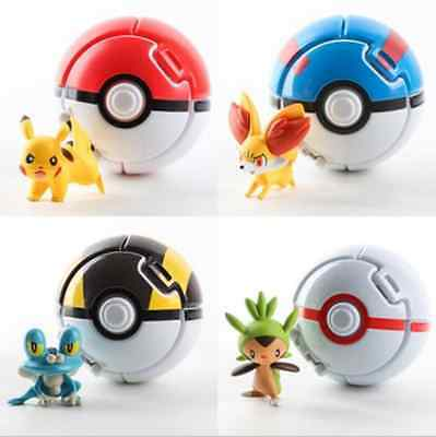 4PCS Bounce Pokemon Pokeball Cosplay Pop-up Elf Go Fighting Poke Ball Toy Gift