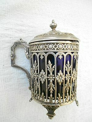 Antique French Solid Silver Mustard Pot