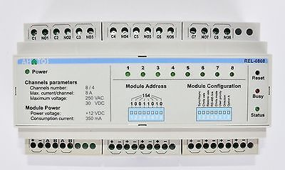 NEW Ahatos REL-0808. DIN rail 8 channel Relay. Home automation. ModBus RS-485