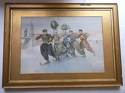 FRAMED WATERCOLOUR PAINTING 19th CENTURY A STUDY OF DUTCH FOLK SKATING ON ICE