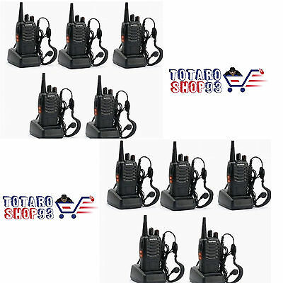 10x PEZZI BAOFENG BF-888S 400-470MHz WALKIE TALKIE RICETRASMITTENTE COLORE NERA