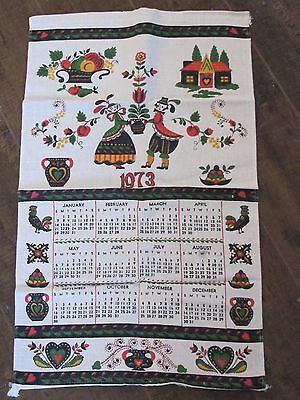 Vintage Linen Wall-Hanging 1973 Calendar - Country Hearth  Fruit Heart