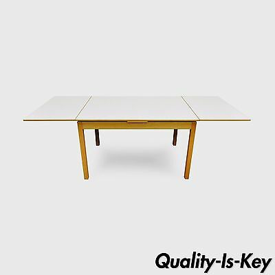 Vintage Ansager Mid Century Danish Modern Maple Extension Leaf Dining Room Table