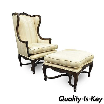 Vintage French Country Louis XV Style Carved Walnut Wingback Chair & Ottoman