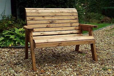 HGG Wooden 2 Seat Bench - Outdoor Patio Solid Wood Garden Furniture
