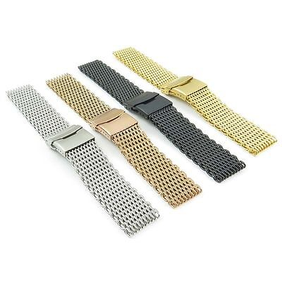 StrapsCo 4mm Thick Shark Mesh Stainless Steel Watch Band Strap for Seiko
