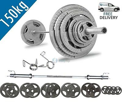 BodyRip Tri Grip Olympic 150kg Weight Set with 5FT Barbell and Collars