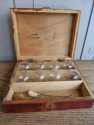 Antique French set of medical cupping glasses in box