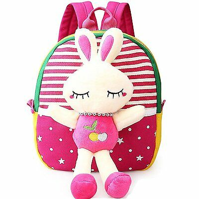 MATMO 3D Cute Cartoon Little Plush Baby Backpack Baby Toy Bag Rose Red Rabbit
