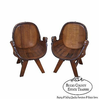 Vintage Pair of Oak Barrel Lounge Chairs