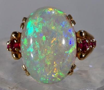 Stunning 14 K Opal Ring W/ Ruby Accents Size 5 1/2 (Very Colorful)