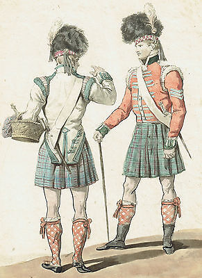 MILITARI SCOZZESI Kilt Militaires Ecossais Scottish military - Incisione 1800