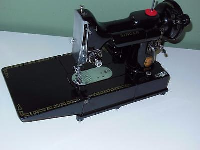 Singer RED S 222 K Featherweight Sewing Machine w Accessories & Case Serviced