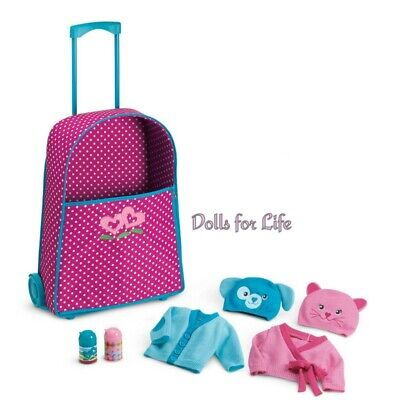 NEW American Girl Bitty Twins Starter Set DOLLS PINK POLKA DOT Rolling Suitcase