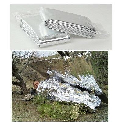 2Pcs First Aid Survival Foil Emergency BLANKET Rescue Waterproof Thermal Camping