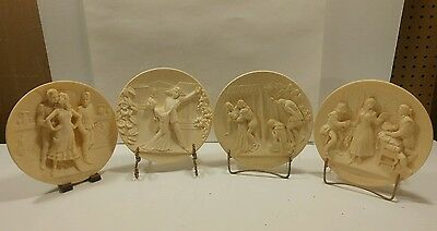 Alabaster opera plates Carmen, Madame Butterfly, Rigoletto and Barber of Seville