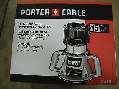 Porter-Cable 7518 Speedmatic 3-1/4 HP Electric Router 5 Speed Fixed Base New