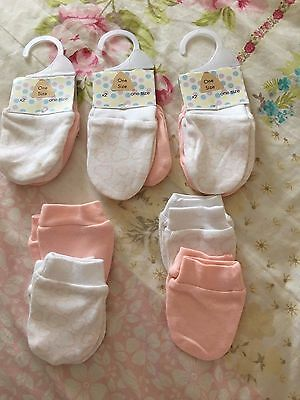 10 Pairs Baby Scratch Mittens Mitts Newborn Pink 100% Cotton Girl NEW