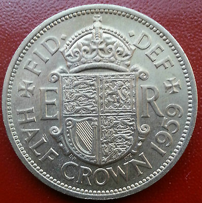 Key Date 1959 Half Crown. Scarce In High Grades. Low Mintage. Qe11 Coinage