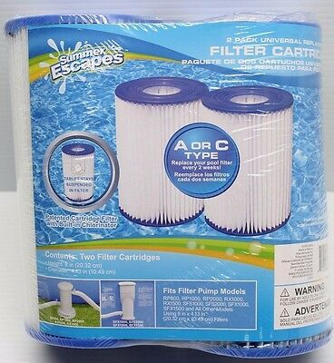 Summer Escapes Universal Type A or C Pool Filter Cartridge 2 Pack BRAND NEW