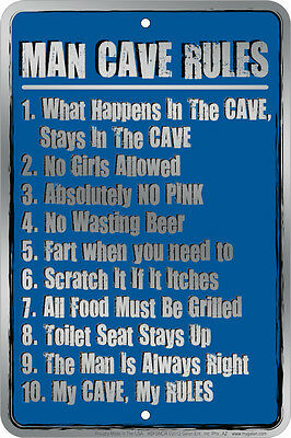 MAN CAVE RULES metal Sign What Happens STAYS No Girls Allowed Beer & Fart okay