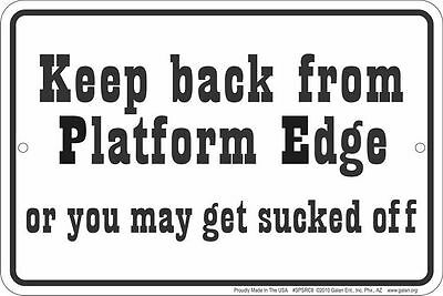 TRAIN lovers sign - KEEP BACK PLATFORM metal sign for  model railroad collectors