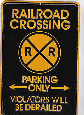 TRAIN lovers sign - RAILROAD CROSSING metal sign for  model railroad collectors