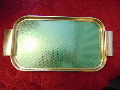 Vintage 1950s Plyware Gold Coloured Large Metal Tray With Handles Good Condition