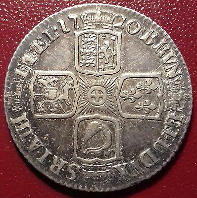 1720 Shilling. SCARCE YEAR. BEAUTIFUL TONING. LARGE '0' IN DATE.