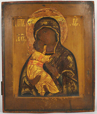 c1820 FINE ANTIQUE RUSSIAN ORTHODOX ART ICON OUR LADY OF VLADIMIR MOTHER OF GOD