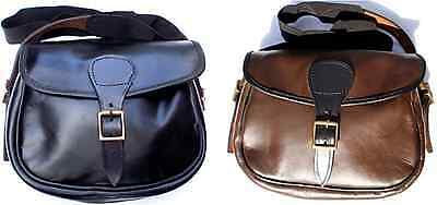 Leather Shotgun Cartridge Bag - Hand Made in Black or Brown Leather