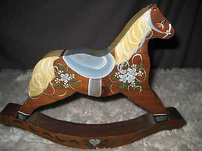 Wooden Rocking Horse Hand Painted. Vtg
