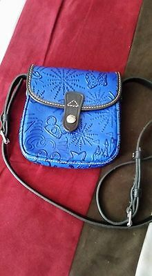 Dooney & Bourke Disney Small Blue Embossed Leather Crossbody Purse, Sketch