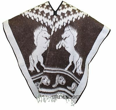 HEAVY BLANKET Mexican Poncho COWBOY 26 Dark Brown ONE SIZE FITS ALL