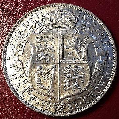1923 Half Crown. High Grade With Lustre. George V British Silver Coins.
