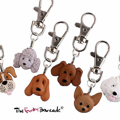 Funky Puppy Dog Face Clip-On Charm Quirky Novelty Keys Gift Pet Animal Lover Fun