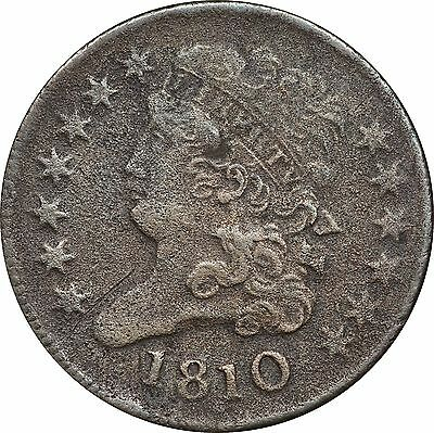 1810 Classic Head Half Cent, Very Fine VF Details, Environmental Damage
